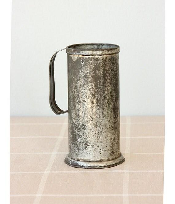 Vintage Galvanized Measuring cup Milk beaker Original stamped 1970's Turkish steel can jug Metal Collectible tin Rustic vase Farmhouse