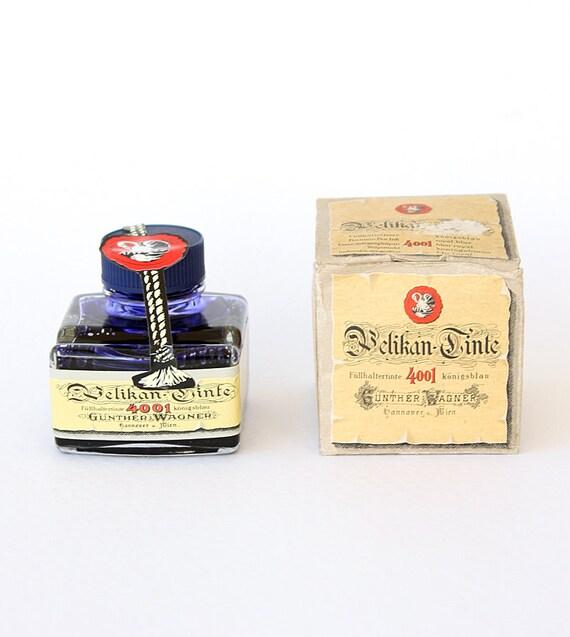 Vintage Pelikan ink Royal blue Sealed Unused with original bottle and box Made in Germany Pelikan tinte Office School supplies Writing ink