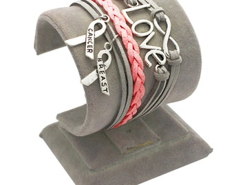grey and pink breast cancer bracelet