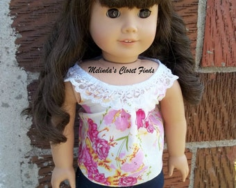 American Girl Doll Clothes, 18 inch Doll Clothes, Lacy Vintage Rose Tank Top, Handmade From Liberty Jane Pattern