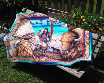 Native American Quilt Throw, one piece print, colorful print