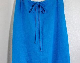 100% Blue Linen Straight Skirt Knee Length Drawstring Elastic  - Handmade Tabitha Skirt