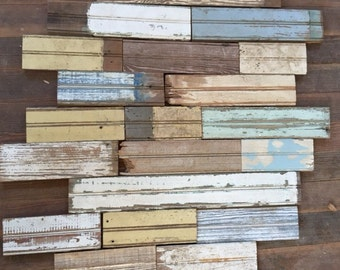 Salvaged Bead Board, Small Lot with Random Colors, Reclaimed Wood, Vintage House Parts, Architectural Salvage, Vintage Beadboard, Recycled