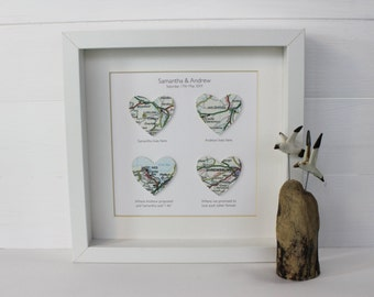 Personalised Handmade Map Hearts Framed Picture