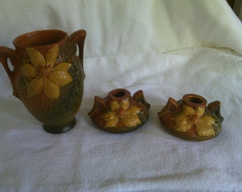 Roseville Clematis vase and candlesticks