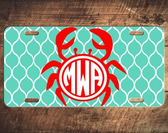Monogram License Plate Beach Crab Custom Car Tags Monogrammed Tag Customized Car Plate Personalized Gifts - Customize your own!