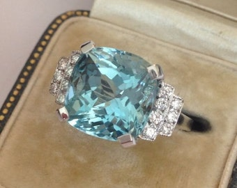 Breathtaking Aquamarine And Diamond Art Deco Style Ring 18ct White Gold 5.80ct