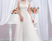 Exclusive long wedding dress, Lace Wedding dress with open back