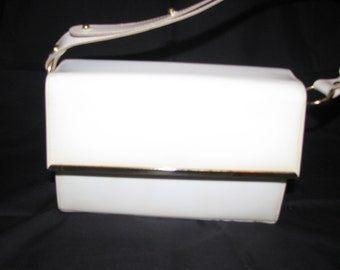White patent leather vintage handbag 1960's
