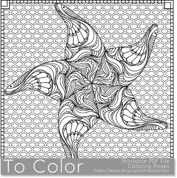 Printable Starfish Coloring Page For Adults PDF JPG Instant Download Beach Book Sheet Grown Ups Digital Stamp