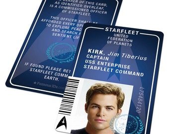 Custom Star Trek Uniform ID Badge - Starfleet Academy - Captain Kirk, Spock or your details, Star Trek Costume, Star Trek Cosplay