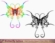 Butterfly tattoo clipart, abstract tattoo design clip art, scrapbooking, commercial use, digital instant download, png jpg 300dpi