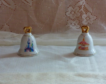 Vintage Disneyland Salt & Pepper Shakers Bell Shaped Castle Carousel White with Gold Trim