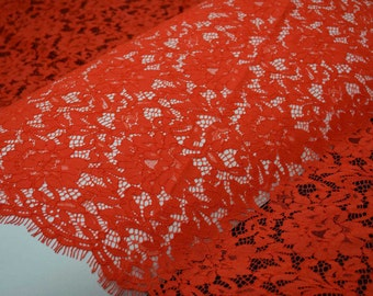 Orange red corded french lace fabric ,High Quality Lace Trimming ,Evening dress lace 150*150cm per pc
