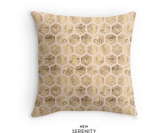 Pillow Cover, HoneyComb Pillow, Hexagon Pillow, Pink, Decorative Pillow, Cushion Cover, Home Decor, NewSerenityStudio