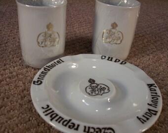 Vintage Porcelain Cups & Ash Tray