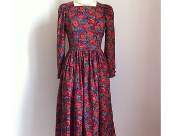 1980s Vintage Laura Ashley Cotton-Wool Blend Long-sleeved Flower Party Dress