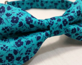 Men's Bowtie, Bow tie, Blue, Floral
