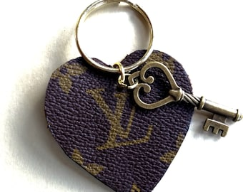 Louis Vuitton heart shaped Keychain upcycled from authentic Louis Vuitton luggage