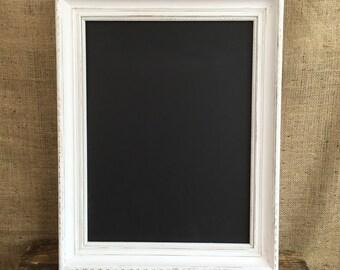 White & Gold Chalkboard // Framed Ornate Blackboard // Picture Frame Chalk Board // White Home Decor // White Painted Message Board