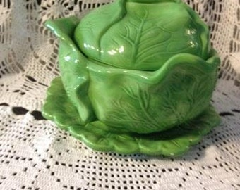 vintage 3 piece green cabbage bowl set