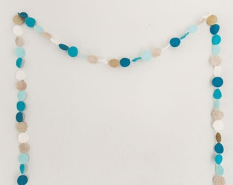 Felt & glitter garland in ivory, oatmeal, sky blue, turquoise, and gold. Nursery bunting. Party garland. Birthday banner. Nursery garland.