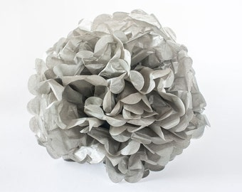 """CLEARANCE - Grey tissue paper Pom Pom.  12"""".  Paper decorations. Party decor.  Tissue poms.  Hanging party decoration.  Hanging decor."""