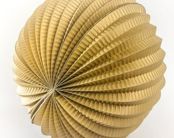 """Gold 8"""" paper accordion fan.  Paper party decor.  Gold party decorations.  Hanging decorations.  Hanging paper decor.  Paper globes."""