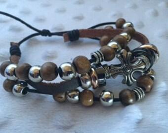 Brown Leather Beaded Bracelet