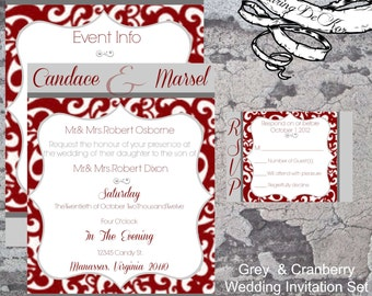 Grey & Cranberry Wedding Invitation Set