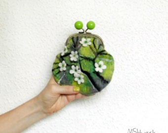 Apple blossoms flowers motives  Felted coin purse Ready to Ship with kiss lock  Handmade gift for her