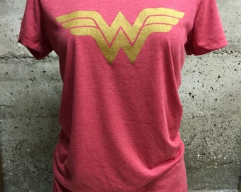 Red Triblend With Gold Wonder Woman Tee