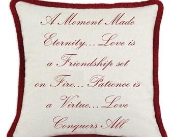 Valentine Love Poem Pillow
