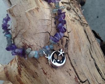 Amethyst and Labradorite Bracelet