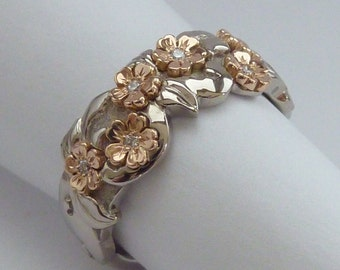 Handmade Cherry blossom ring 18 carat white / rose gold with diamonds - one of a kind
