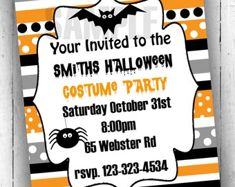 Halloween Party Invitation, Printable Invitation, Halloween Invite, Party Invite, Printable Party Invite, Costume Party Invitation