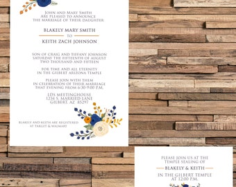 Rustic Blue Wedding Invite LDS Mormon