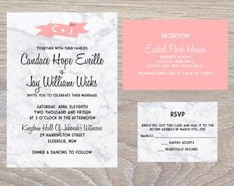 White Marble Coral Detailing Wedding Invitation Set - PRINTABLE