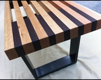 Modern Slat Bench...Nelson Style with Exotic Hardwood Accents, Mid Century Eames Era