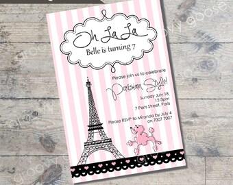 PARIS POODLE kids party invitation DIY Printable Paris theme party printable invitations Personalised invitation