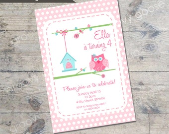 Cute Owl kids party invitation DIY Printable girls party invitation OWL THEME