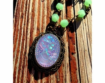 Funky Iridescent Broach Necklace