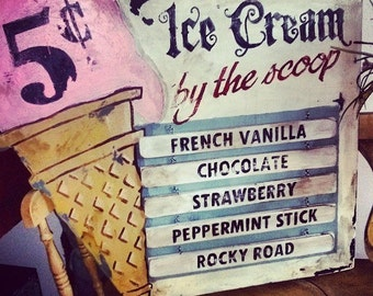 Old Fashioned Ice Cream Sign - Vintage Made Hand Lettere