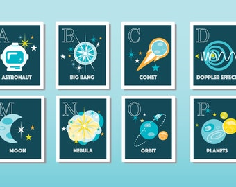 """Scientific Alphabet Prints: individual 8x10"""" space-themed prints; gender-neutral children's wall art; CHOOSE how many letters"""