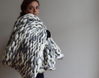 Chunky Knit Blanket - Alpaca and Merino Hand Knit Throw