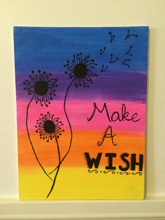 canvas art ideas items similar to make a wish dandelion canvas painting on etsy 30287