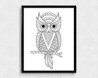 SALE -  Owl Illustration, Owl Art Print, Black Owl, Owl Outline, Minimalism Print, Minimalist Poster, Modern Print, Owl Print