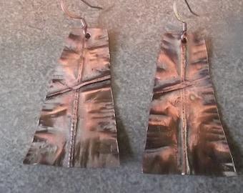 Antiqued Copper Form Folded Earrings