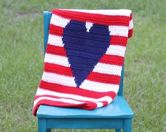 Striped Heart Baby Blanket
