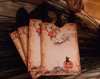 FOUR Vintage Halloween Witch on Broom Scrapbook Hang Tags, Gift Tags